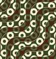 Retro 3D brown green and yellow waves and donates vector image vector image