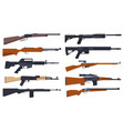rifle guns military and hunting weapon types set vector image