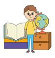school education boy cartoon vector image vector image