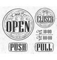 Set vintage open closed vector image vector image