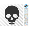 skull flat icon with bonus vector image