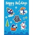 Snow sticker set with cartoon penguins snowman vector image vector image