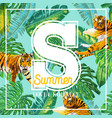 summer tropical design with palm leaves and tigers vector image vector image