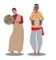 the bihu man plays music and the bihu woman vector image