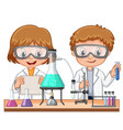 two kids doing science experiment in class vector image