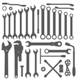 various wrench silhouette set vector image vector image