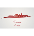 Verona skyline in red vector image vector image