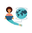 woman sitting with laptop and planet earth vector image vector image
