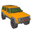 yellow jeep cherokee on white background vector image vector image
