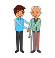 young man and old man together family vector image