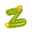 z letter in the form of cactus with orange vector image vector image