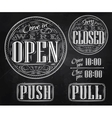 Set vintage open closed chalk vector image