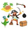 cartoon pirate set vector image