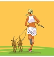 Sporty woman runner with dogs vector image