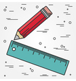 Ruler and pencil thin line design Ruler and pencil vector image