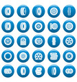 tire icons set blue simple style vector image