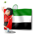 A tired athlete player in front of the UAE flag vector image vector image
