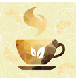 Abstract cup of coffee on a geometric background vector image