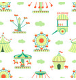 amusement park seamless pattern carnival funfair vector image vector image