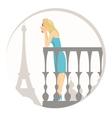 beautiful blonde woman in paris vector image vector image