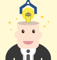 Businessman get light bulb in head with idea vector image vector image