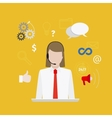 Call center with girl flat style yellow banner vector image vector image