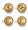 Cappuccino with money and heart signs vector image vector image