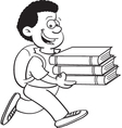 Cartoon of a boy carrying books vector image vector image