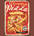 chicago style deep dish pizza vector image vector image
