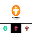 christian cross logo in simple and clean style vector image