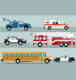 city emergency transport isolated set vector image