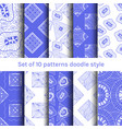 collection 6 seamless pattern doodle style design vector image vector image