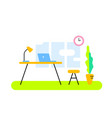 color front view interior home office room vector image