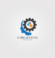 creative mind with gear icon templates logo vector image vector image