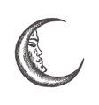 crescent moon in antique style hand drawn vector image