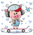 cute cartoon piggy with skateboard vector image vector image
