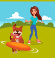 dog walker walking with pets go for a vector image