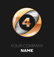 golden number four logo in the silver-golden circl vector image vector image