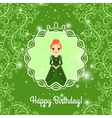 Happy Birthday green card with princess vector image vector image