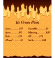 Ice cream menu or price poster on vanilla ice vector image vector image