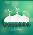 islamic eid festival design with mosque and vector image vector image