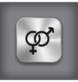 male and female icon - metal app button vector image vector image
