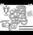 Maze with race car coloring page vector image
