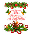merry christmas decoration greeting card vector image vector image