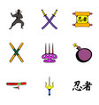 ninja icons set cartoon style vector image
