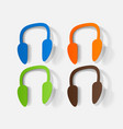 paper clipped sticker wireless headphones vector image vector image