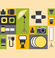 photography supply icons in colorful collage vector image