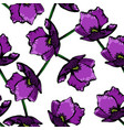 purple floral hand drawn pattern background vector image