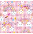 rainbows clouds hearts raindrops seamless pattern vector image