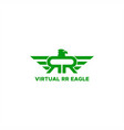 rr virtual reality eagle logo vector image vector image